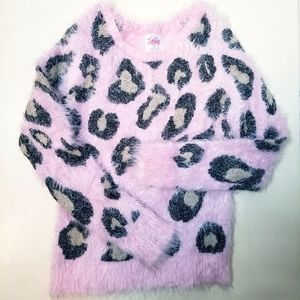 Justice pink fuzzy cheetah leopard print sweater 7